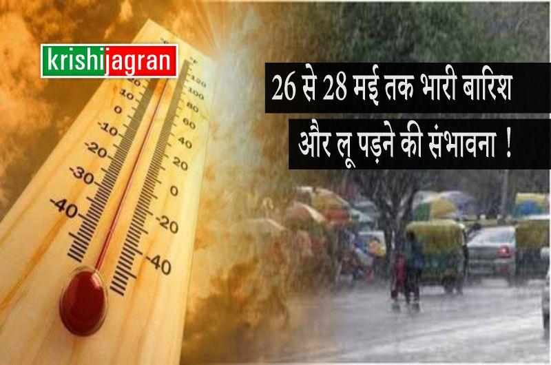 Weather Forecast : देश के इन राज्यों में 26 से 28 मई तक भारी बारिश और लू पड़ने की संभावना,  कई राज्यों में अलर्ट जारी !